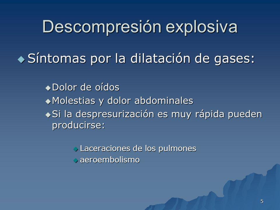 5 Descompresión explosiva Síntomas por la dilatación de gases: Síntomas por la dilatación de gases: Dolor de oídos Dolor de oídos Molestias y dolor ab