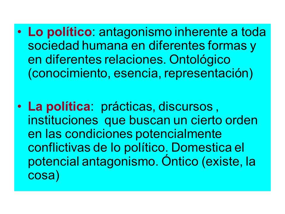 Lo político: antagonismo inherente a toda sociedad humana en diferentes formas y en diferentes relaciones. Ontológico (conocimiento, esencia, represen