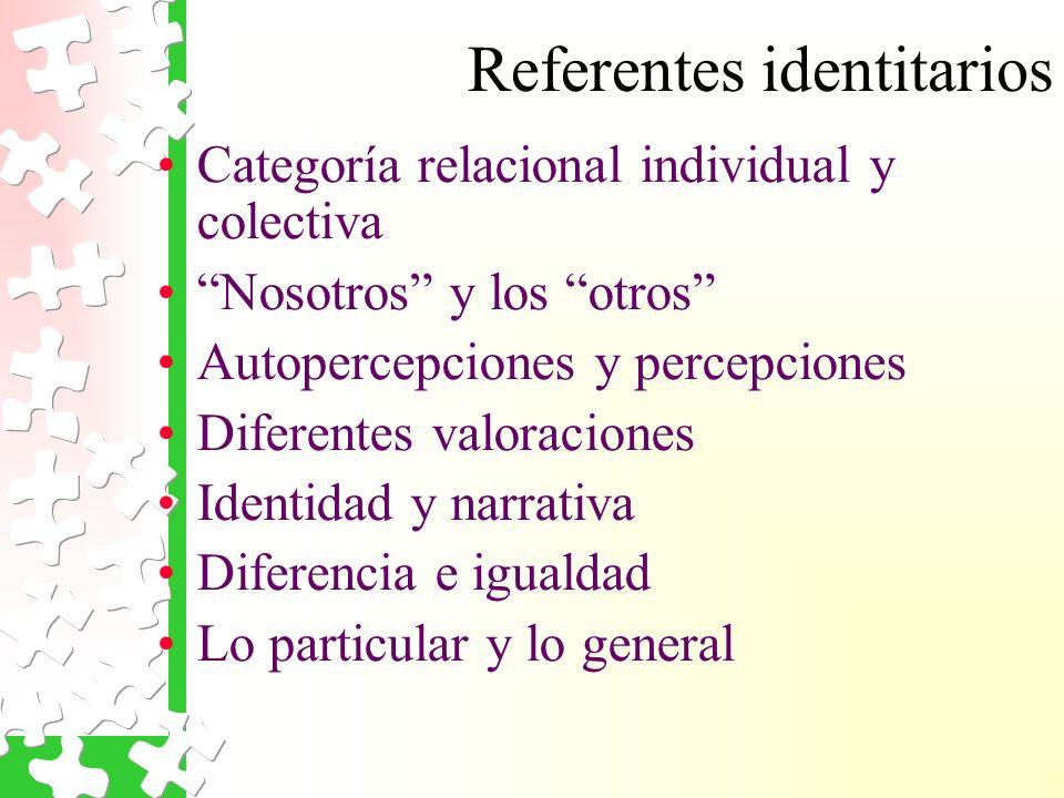 Referentes identitarios Categoría relacional individual y colectiva Nosotros y los otros Autopercepciones y percepciones Diferentes valoraciones Identidad y narrativa Diferencia e igualdad Lo particular y lo general