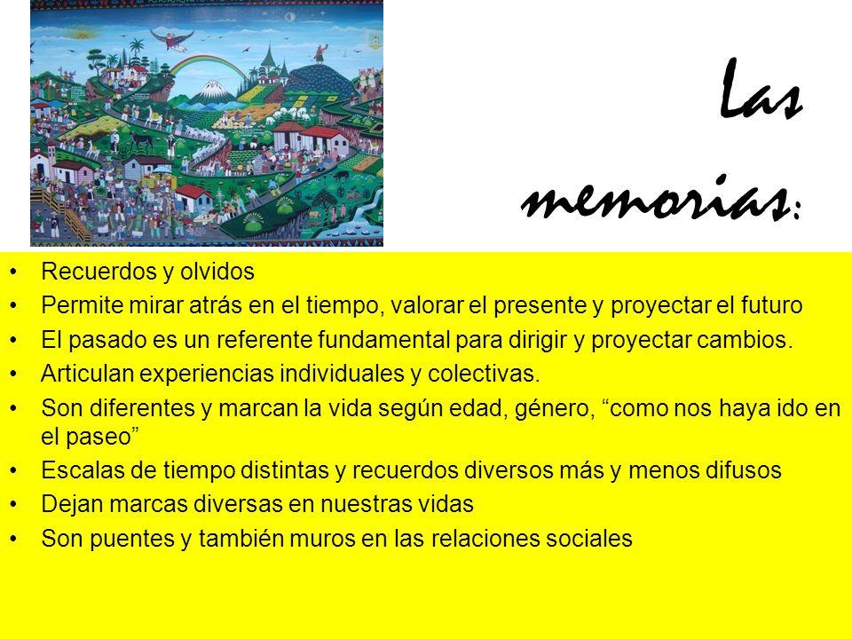 Las memorias : Recuerdos y olvidos Permite mirar atrás en el tiempo, valorar el presente y proyectar el futuro El pasado es un referente fundamental para dirigir y proyectar cambios.