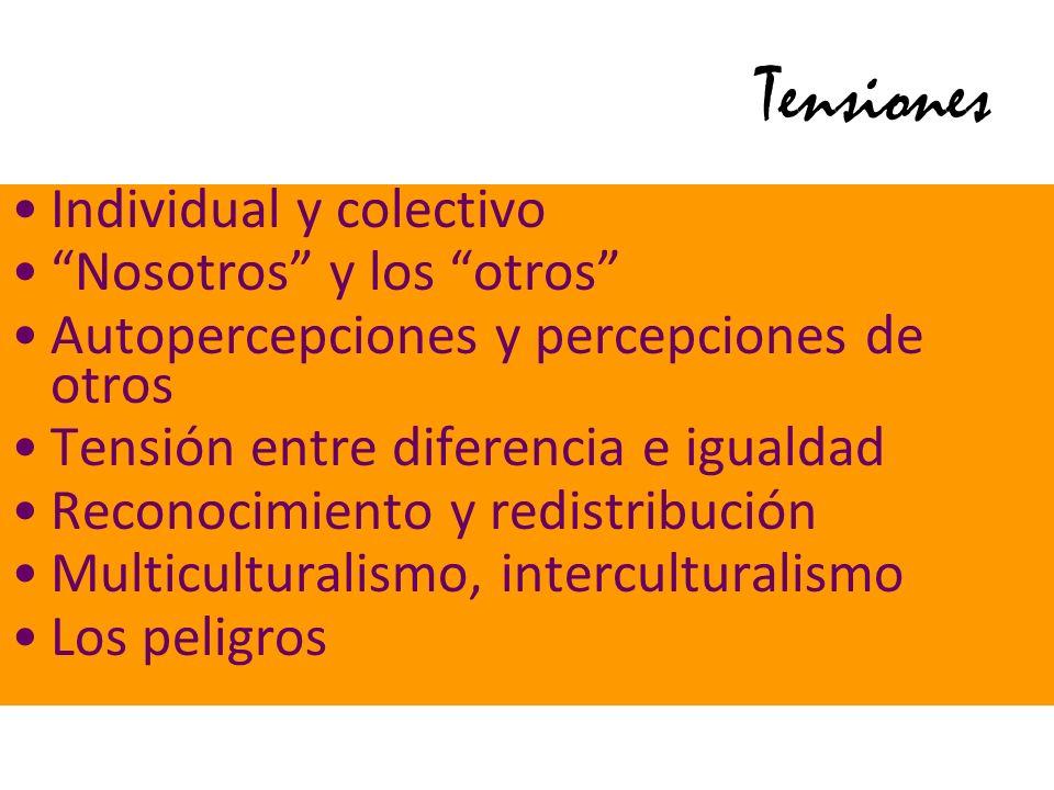 Tensiones Individual y colectivo Nosotros y los otros Autopercepciones y percepciones de otros Tensión entre diferencia e igualdad Reconocimiento y re