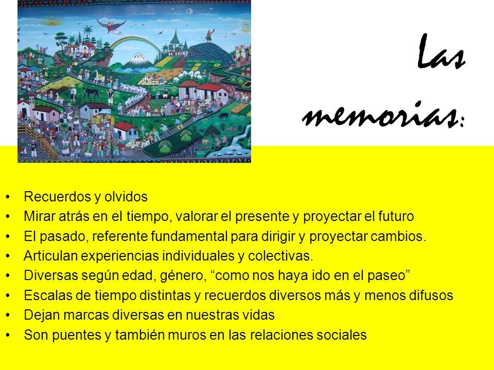 Las memorias : Recuerdos y olvidos Mirar atrás en el tiempo, valorar el presente y proyectar el futuro El pasado, referente fundamental para dirigir y