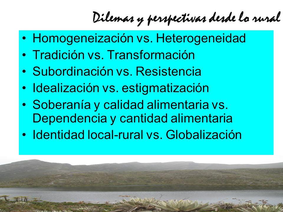 Dilemas y perspectivas desde lo rural Homogeneización vs. Heterogeneidad Tradición vs. Transformación Subordinación vs. Resistencia Idealización vs. e