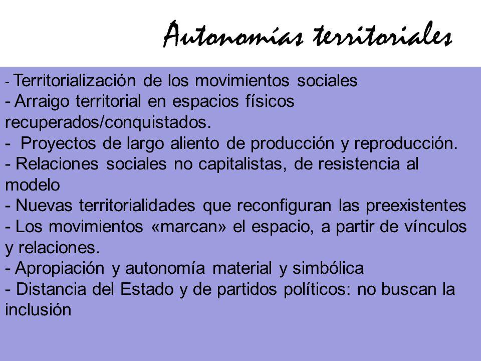 Autonomías territoriales FERRO…. - Territorialización de los movimientos sociales - Arraigo territorial en espacios físicos recuperados/conquistados.