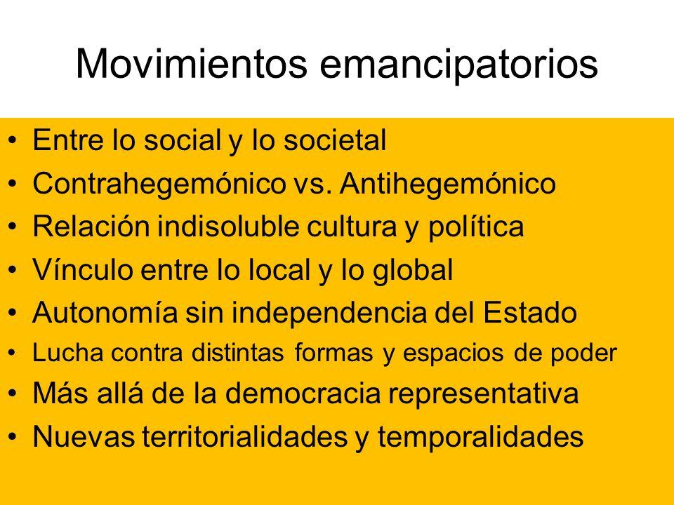 Movimientos emancipatorios Entre lo social y lo societal Contrahegemónico vs. Antihegemónico Relación indisoluble cultura y política Vínculo entre lo