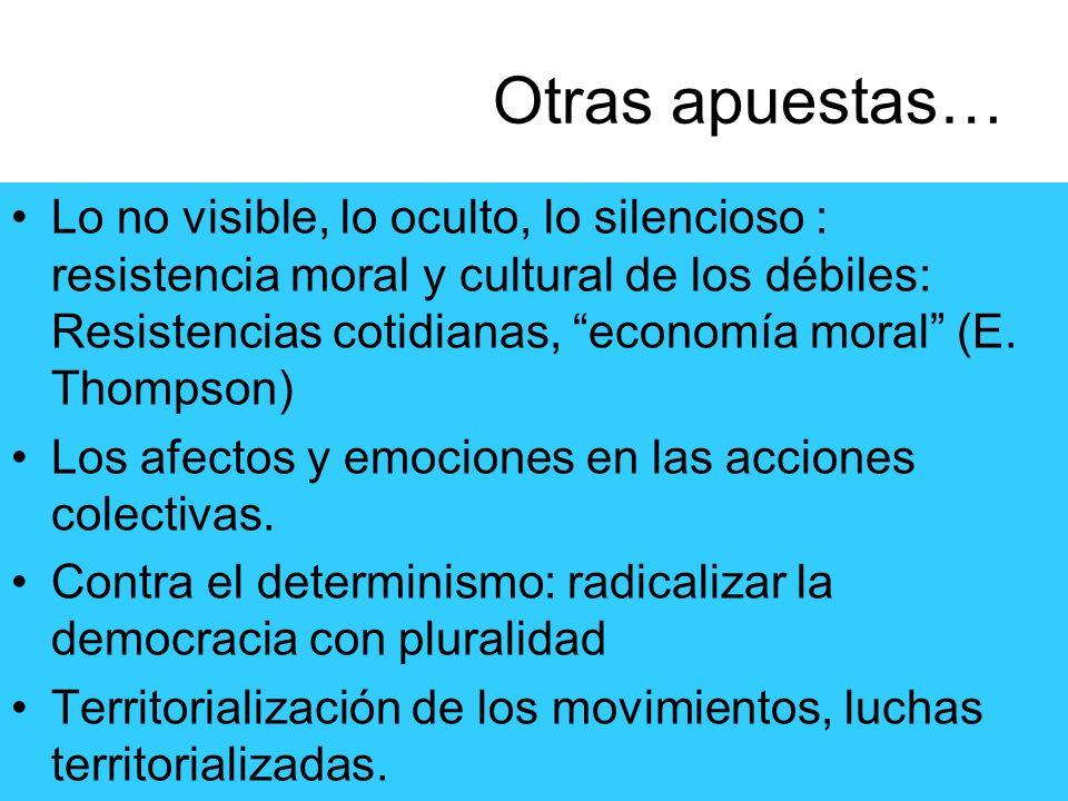 Otras apuestas… Lo no visible, lo oculto, lo silencioso : resistencia moral y cultural de los débiles: Resistencias cotidianas, economía moral (E. Tho