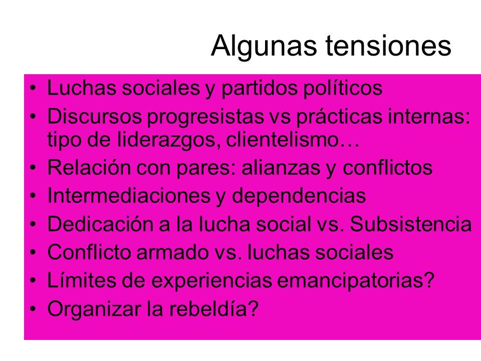 Algunas tensiones Luchas sociales y partidos políticos Discursos progresistas vs prácticas internas: tipo de liderazgos, clientelismo… Relación con pa