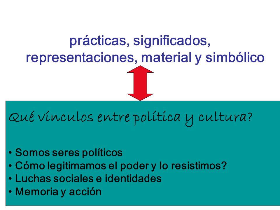 prácticas, significados, representaciones, material y simbólico Qué vínculos entre política y cultura? Somos seres políticos Cómo legitimamos el poder