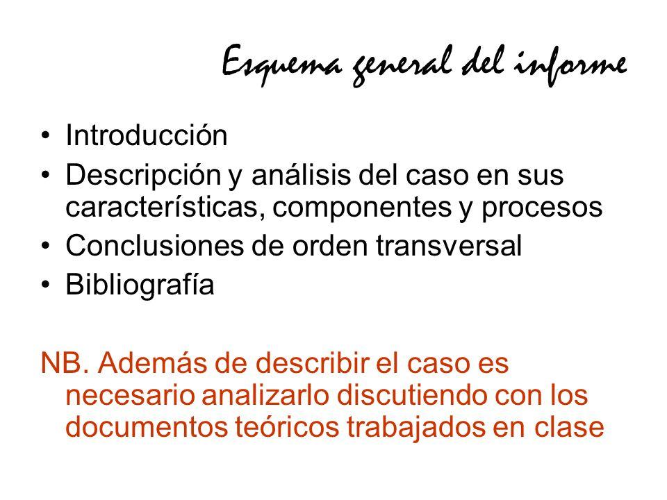 Esquema general del informe Introducción Descripción y análisis del caso en sus características, componentes y procesos Conclusiones de orden transversal Bibliografía NB.