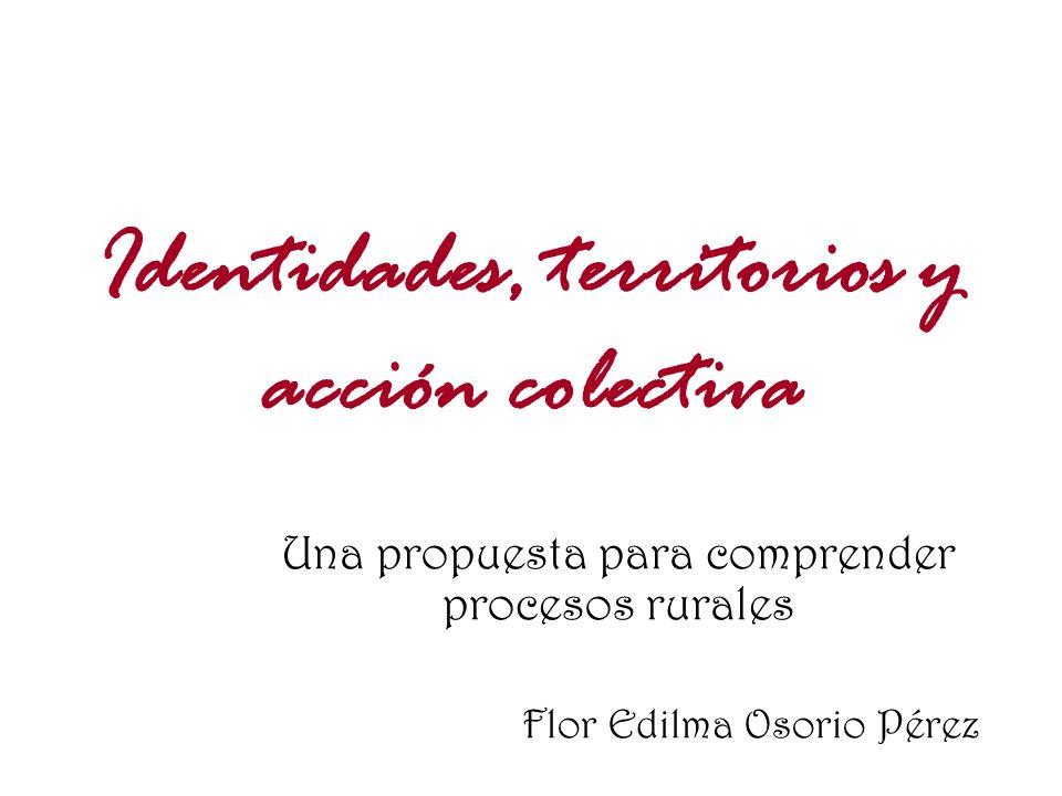 Identidades, territorios y acción colectiva Una propuesta para comprender procesos rurales Flor Edilma Osorio Pérez
