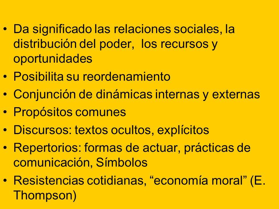 Da significado las relaciones sociales, la distribución del poder, los recursos y oportunidades Posibilita su reordenamiento Conjunción de dinámicas i