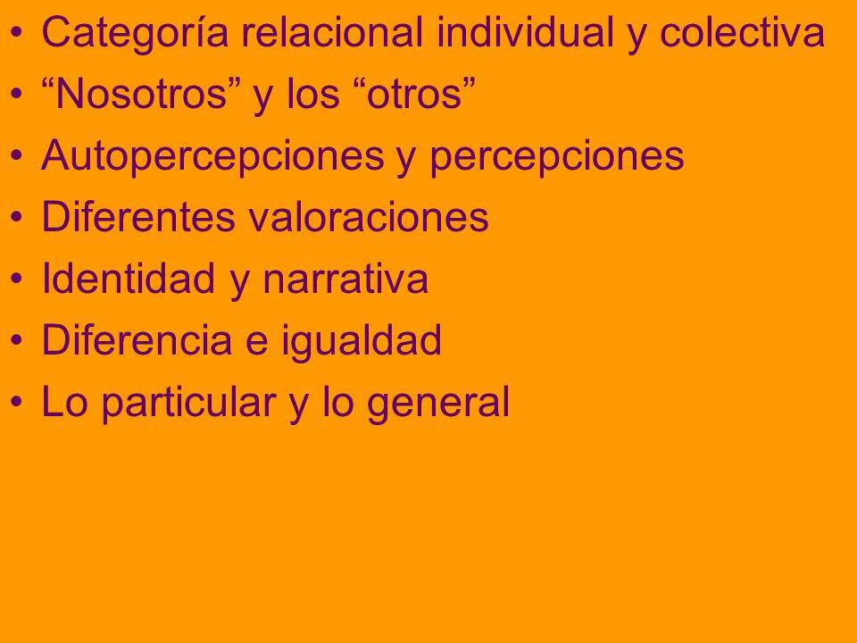 Categoría relacional individual y colectiva Nosotros y los otros Autopercepciones y percepciones Diferentes valoraciones Identidad y narrativa Diferencia e igualdad Lo particular y lo general