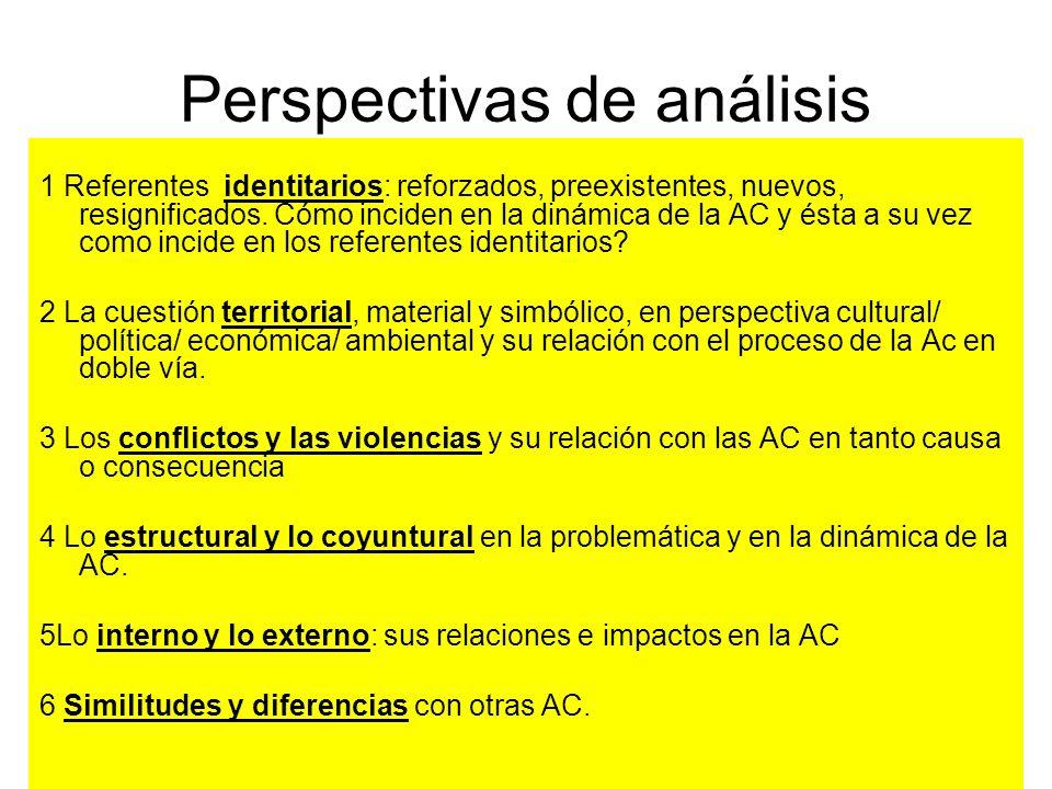 Perspectivas de análisis 1 Referentes identitarios: reforzados, preexistentes, nuevos, resignificados. Cómo inciden en la dinámica de la AC y ésta a s