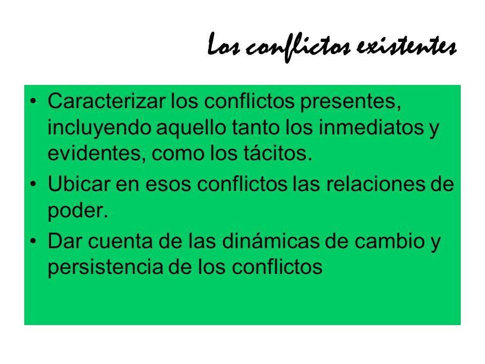 Los conflictos existentes Caracterizar los conflictos presentes, incluyendo aquello tanto los inmediatos y evidentes, como los tácitos. Ubicar en esos