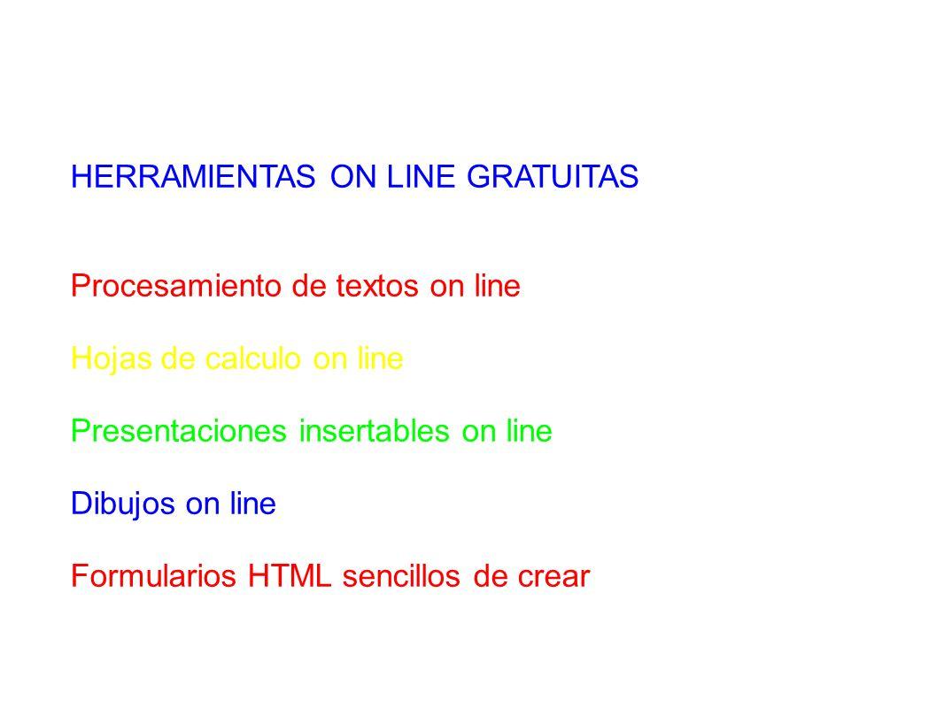 HERRAMIENTAS ON LINE GRATUITAS Procesamiento de textos on line Hojas de calculo on line Presentaciones insertables on line Dibujos on line Formularios HTML sencillos de crear