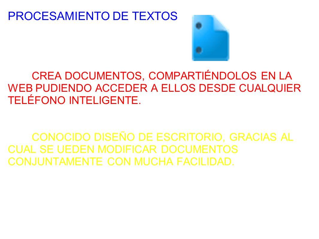 PROCESAMIENTO DE TEXTOS CREA DOCUMENTOS, COMPARTIÉNDOLOS EN LA WEB PUDIENDO ACCEDER A ELLOS DESDE CUALQUIER TELÉFONO INTELIGENTE.