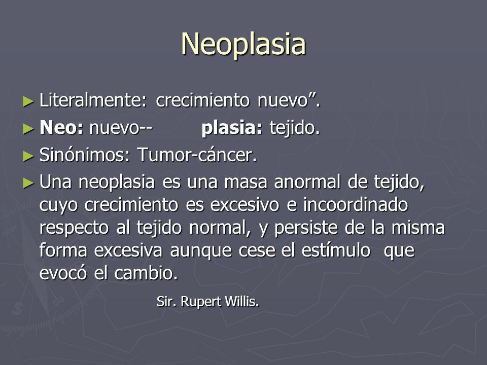 Neoplasia Literalmente: crecimiento nuevo. Literalmente: crecimiento nuevo. Neo: nuevo-- plasia: tejido. Neo: nuevo-- plasia: tejido. Sinónimos: Tumor