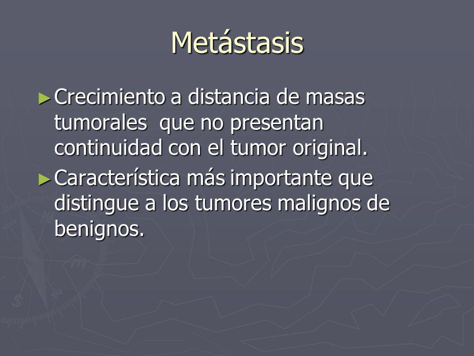 Metástasis Crecimiento a distancia de masas tumorales que no presentan continuidad con el tumor original. Crecimiento a distancia de masas tumorales q