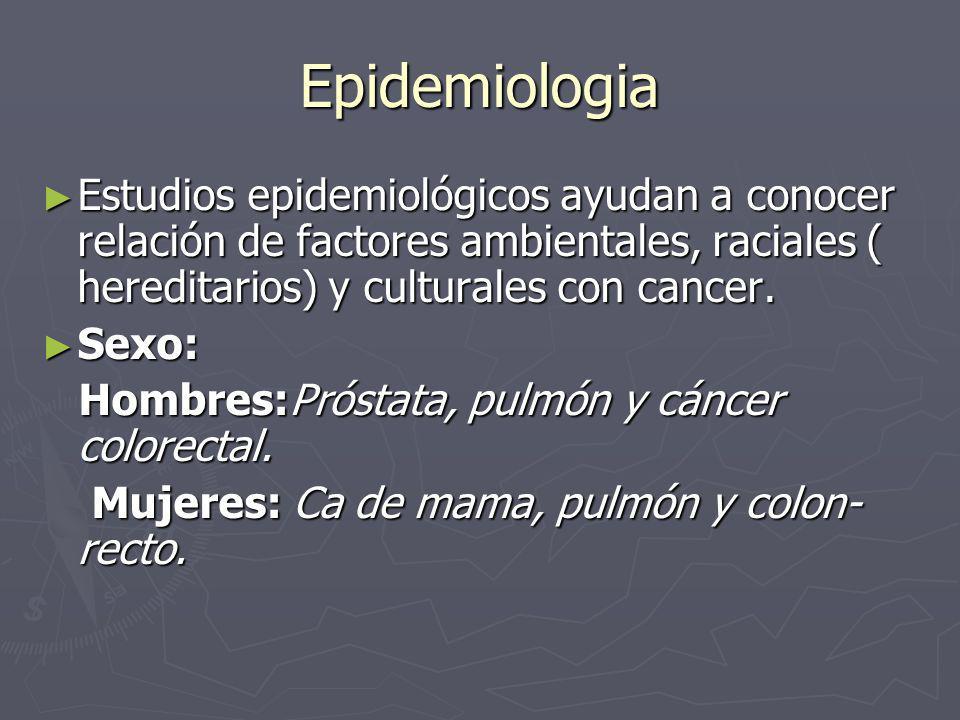 Epidemiologia Estudios epidemiológicos ayudan a conocer relación de factores ambientales, raciales ( hereditarios) y culturales con cancer. Estudios e