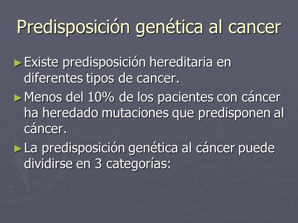 Predisposición genética al cancer Existe predisposición hereditaria en diferentes tipos de cancer. Existe predisposición hereditaria en diferentes tip