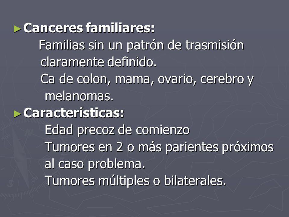 Canceres familiares: Canceres familiares: Familias sin un patrón de trasmisión Familias sin un patrón de trasmisión claramente definido. claramente de