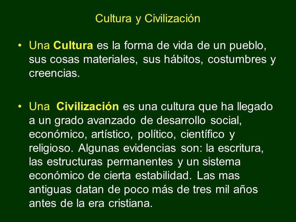 Cultura y Civilización Una Cultura es la forma de vida de un pueblo, sus cosas materiales, sus hábitos, costumbres y creencias. Una Civilización es un