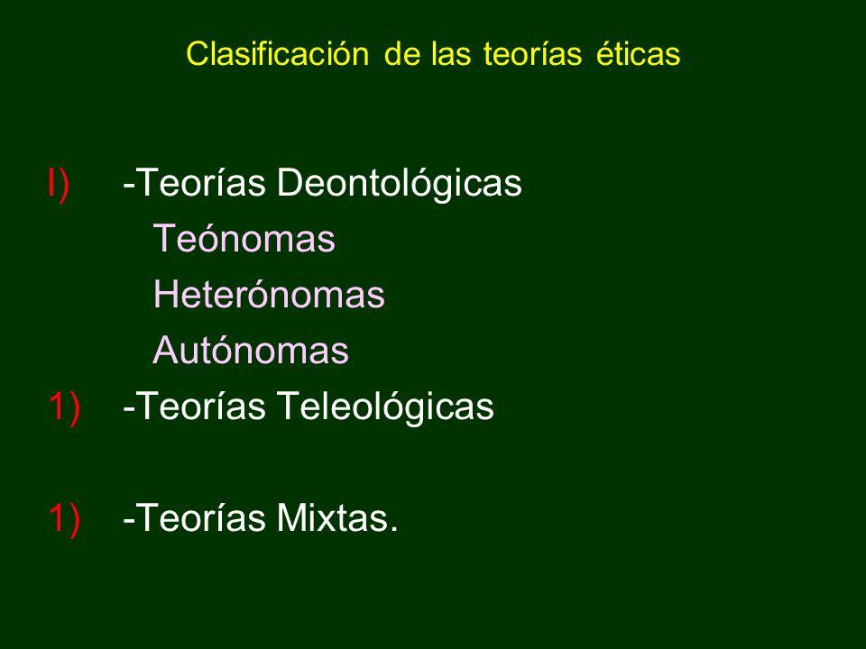 Clasificación de las teorías éticas I)-Teorías Deontológicas Teónomas Heterónomas Autónomas 1)-Teorías Teleológicas 1)-Teorías Mixtas.