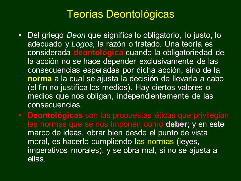 Teorías Deontológicas Del griego Deon que significa lo obligatorio, lo justo, lo adecuado y Logos, la razón o tratado. Una teoría es considerada deont
