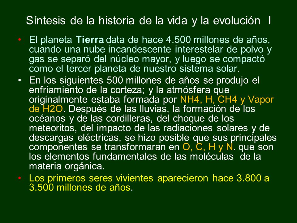 Síntesis de la historia de la vida y la evolución II La Protoestructuración es el paso inicial de transformación de las partículas elementales (quarks) a las complejas (protones); luego vienen la atomización, la molecularización y la Vitalización, para que posteriormente fuese posible la generación de los seres vivientes en los mares.