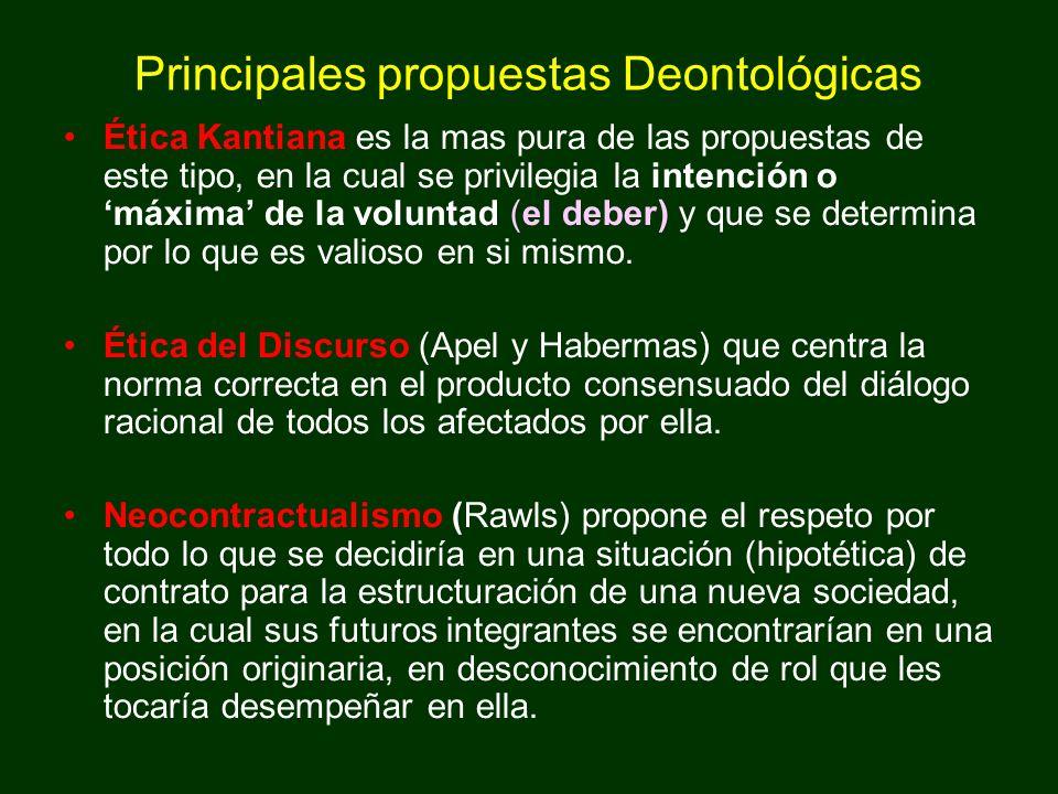 Principales propuestas Deontológicas Ética Kantiana es la mas pura de las propuestas de este tipo, en la cual se privilegia la intención o máxima de l