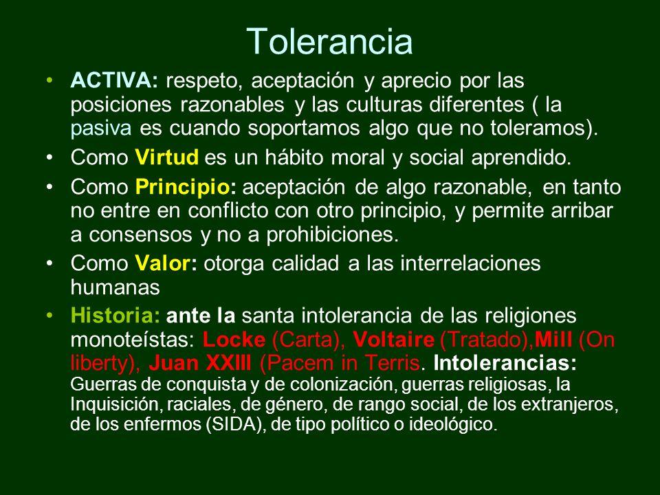 Tolerancia ACTIVA: respeto, aceptación y aprecio por las posiciones razonables y las culturas diferentes ( la pasiva es cuando soportamos algo que no