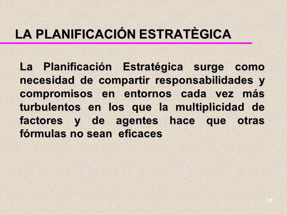 9 PLANIFICACIÓN ESTRATÉGICA La Planificación Estratégica parte de las técnicas de gestión empresarial. Las premisas en las que se fundamenta son: lo g