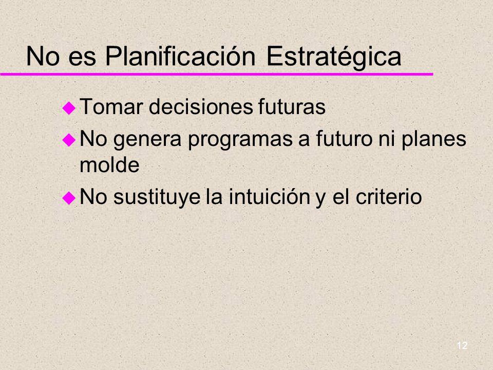 11 En síntesis u PE incluye la aplicación de la intuición y el análisis para determinar las posiciones futuras que la organización debe alcanzar u Pro