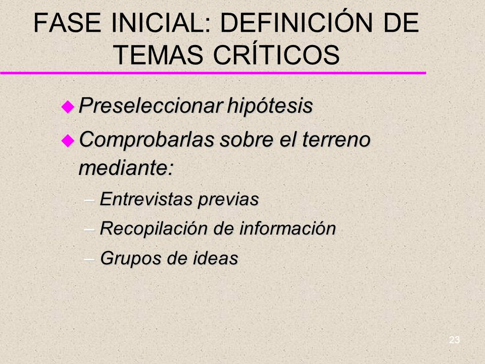 22 FASE INICIAL: ORGANIZACIÓN u Papeles que deben distinguirse en los agentes territoriales: –Promotor –Director –Opositor –Mediador –Filtro –Facilita