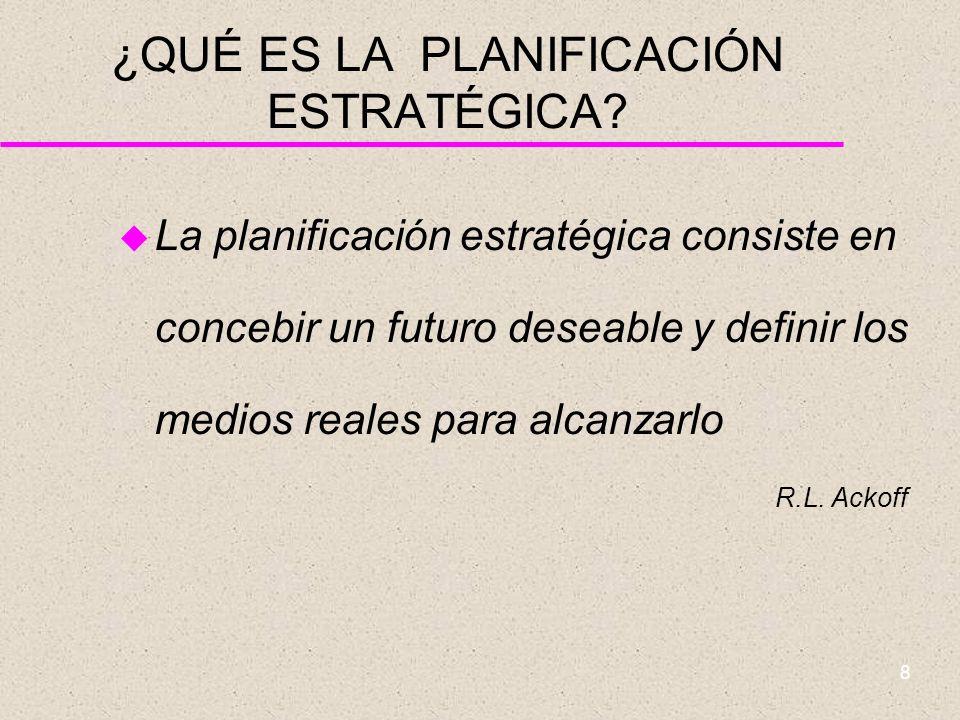 7 ¿QUÉ ES LA PLANIFICACIÓN ESTRATÉGICA? u La planificación estratégica es un método ordenado para producir decisiones y acciones que conforman aquello
