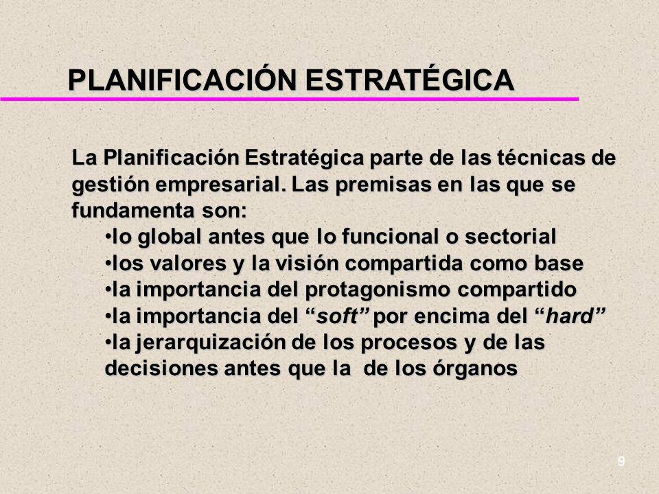 8 ¿QUÉ ES LA PLANIFICACIÓN ESTRATÉGICA? u La planificación estratégica consiste en concebir un futuro deseable y definir los medios reales para alcanz