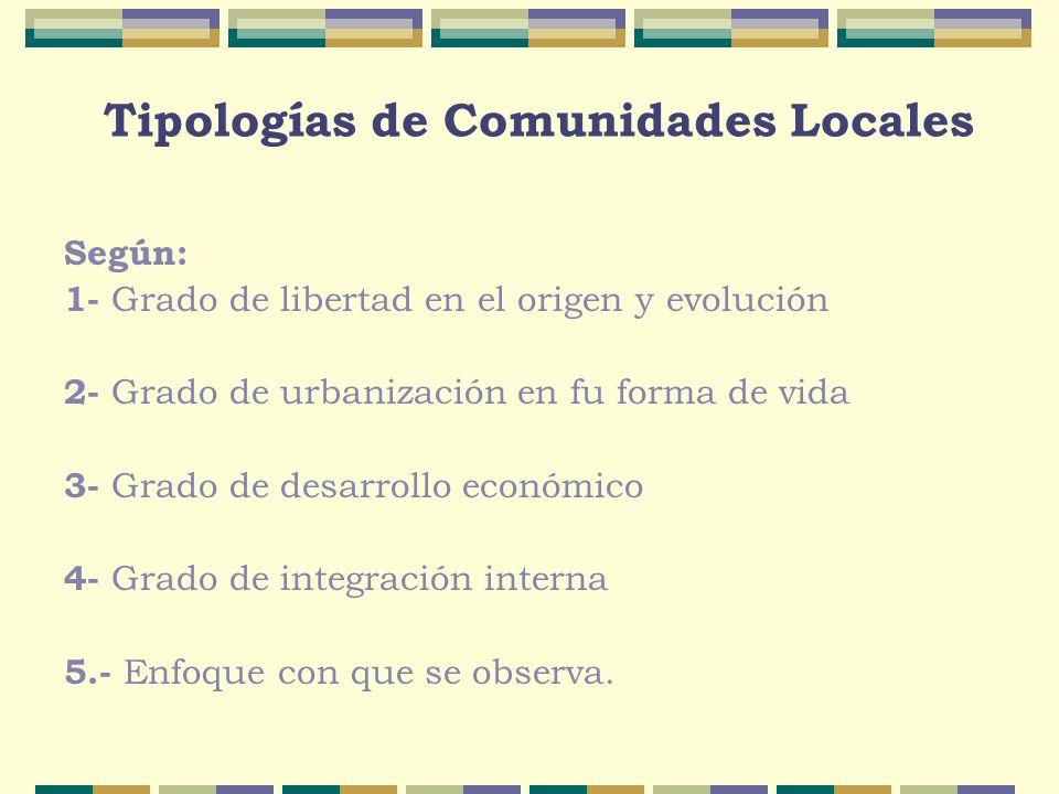 Según: 1- Grado de libertad en el origen y evolución 2- Grado de urbanización en fu forma de vida 3- Grado de desarrollo económico 4- Grado de integra