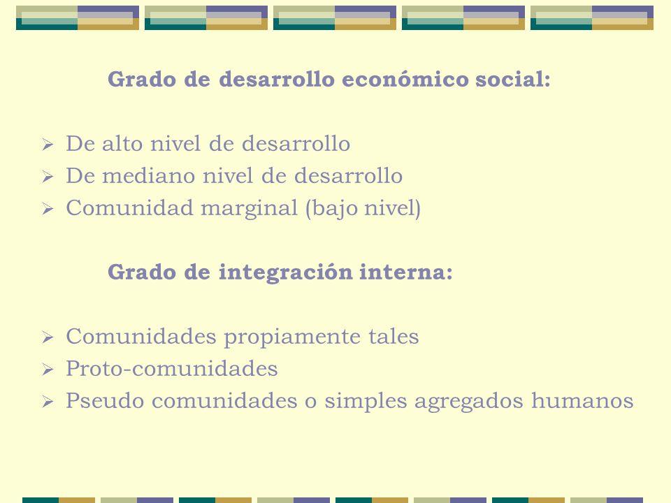 Grado de desarrollo económico social: De alto nivel de desarrollo De mediano nivel de desarrollo Comunidad marginal (bajo nivel) Grado de integración