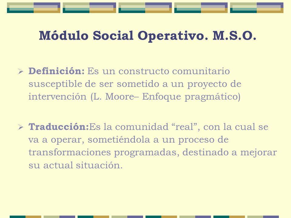 Módulo Social Operativo. M.S.O. Definición: Es un constructo comunitario susceptible de ser sometido a un proyecto de intervención (L. Moore– Enfoque