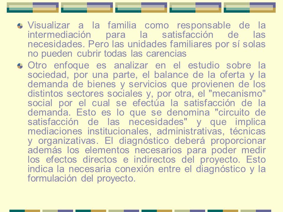 Visualizar a la familia como responsable de la intermediación para la satisfacción de las necesidades. Pero las unidades familiares por sí solas no pu