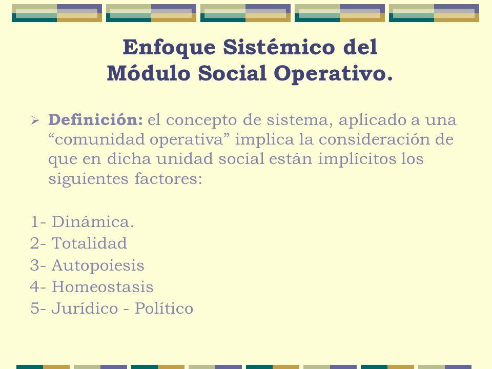 Enfoque Sistémico del Módulo Social Operativo. Definición: el concepto de sistema, aplicado a una comunidad operativa implica la consideración de que