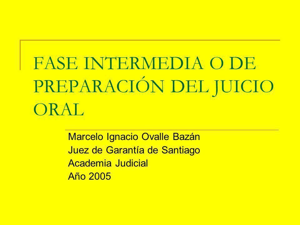 FASE INTERMEDIA O DE PREPARACIÓN DEL JUICIO ORAL Marcelo Ignacio Ovalle Bazán Juez de Garantía de Santiago Academia Judicial Año 2005
