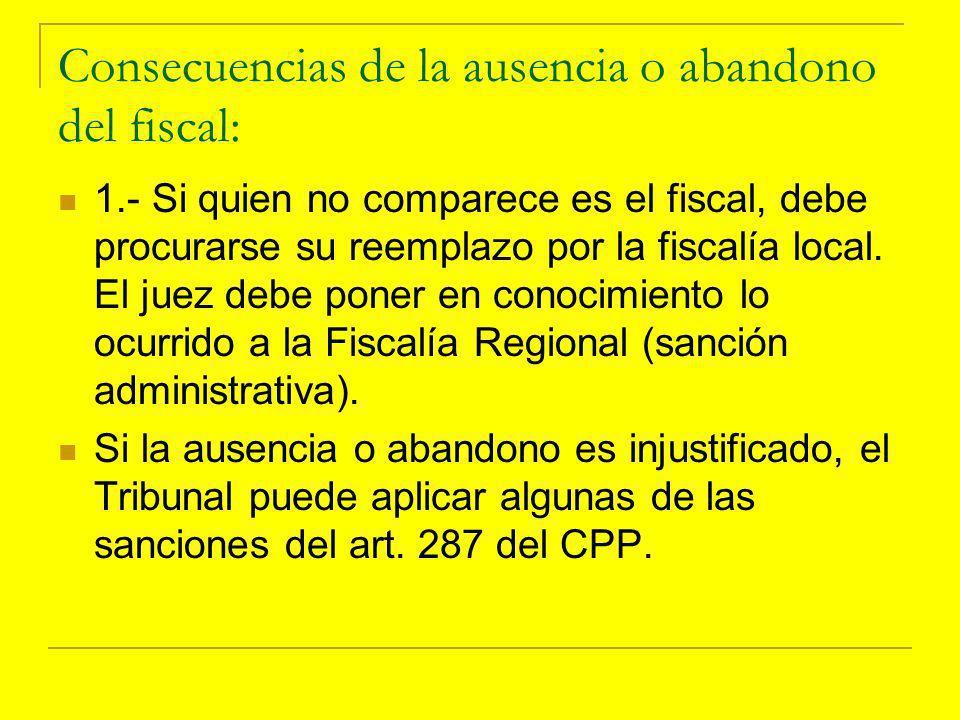 Consecuencias de la ausencia o abandono del fiscal: 1.- Si quien no comparece es el fiscal, debe procurarse su reemplazo por la fiscalía local.