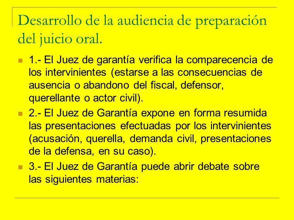 Desarrollo de la audiencia de preparación del juicio oral.