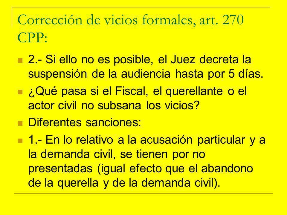 Corrección de vicios formales, art.