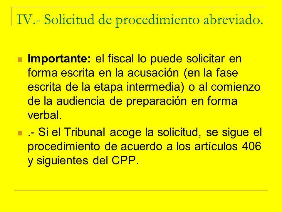 IV.- Solicitud de procedimiento abreviado.