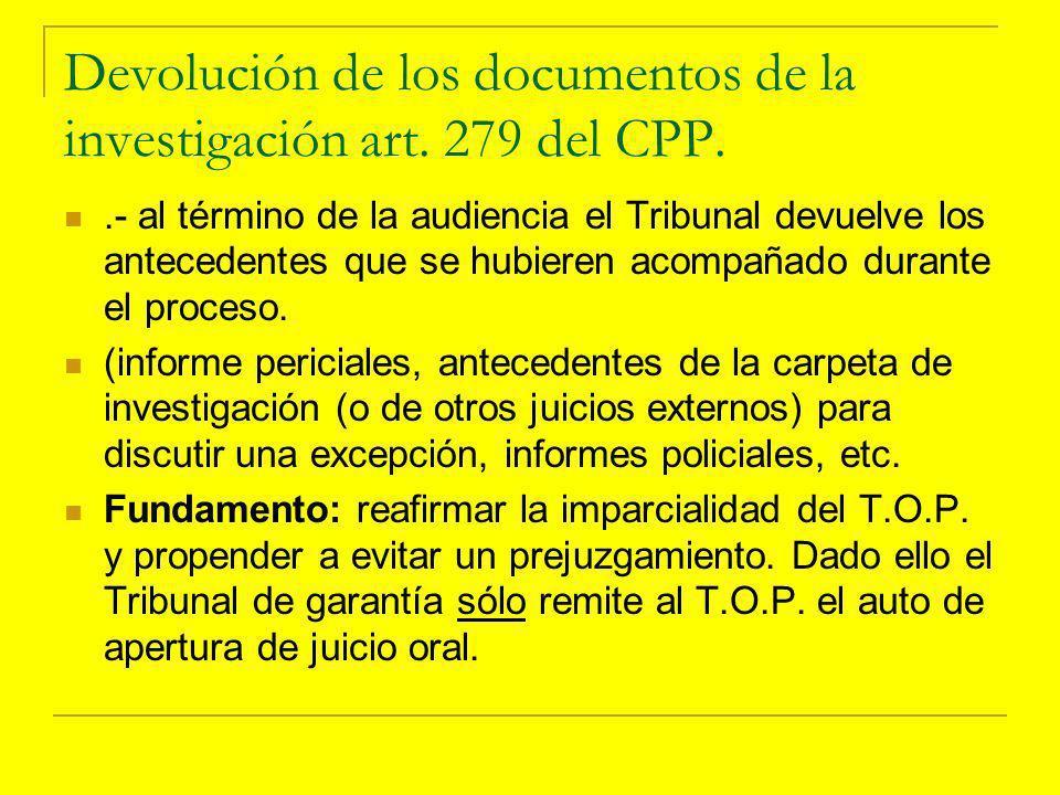 Devolución de los documentos de la investigación art.