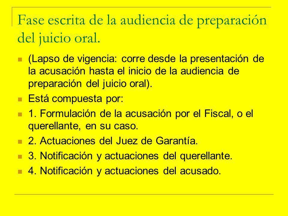 Fase escrita de la audiencia de preparación del juicio oral.