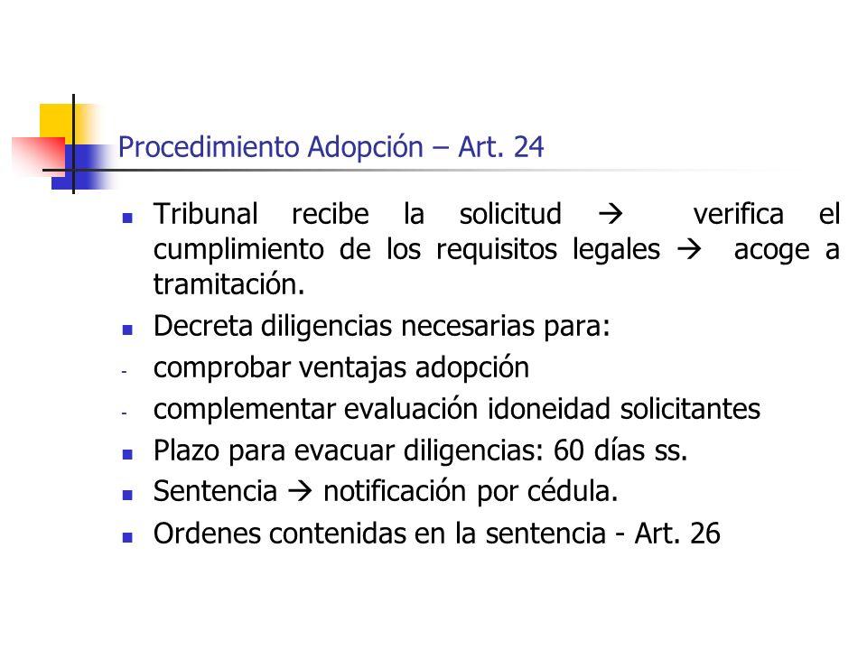 Procedimiento Adopción – Art. 24 Tribunal recibe la solicitud verifica el cumplimiento de los requisitos legales acoge a tramitación. Decreta diligenc