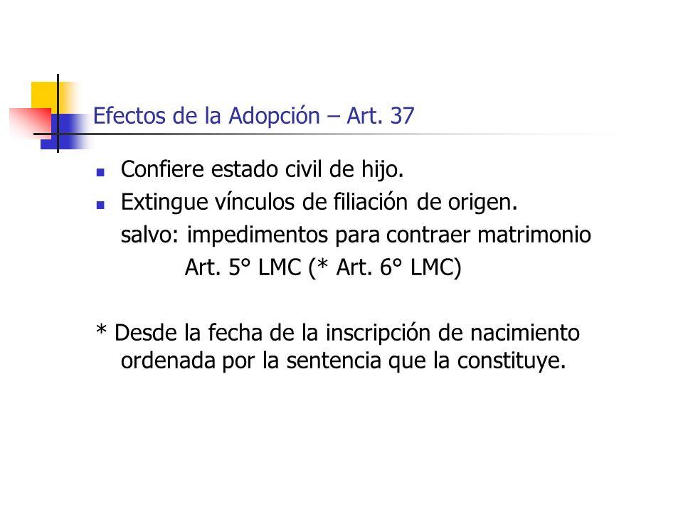 Efectos de la Adopción – Art. 37 Confiere estado civil de hijo. Extingue vínculos de filiación de origen. salvo: impedimentos para contraer matrimonio